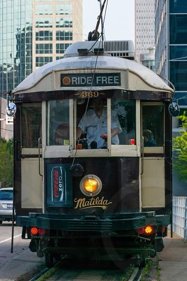 Trolley car transportation tracks Dallas Texas urban city downtown buildings  photo