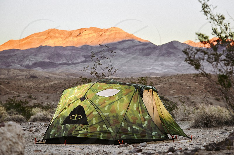 Tent nature camping mountains view freedom relaxed photo