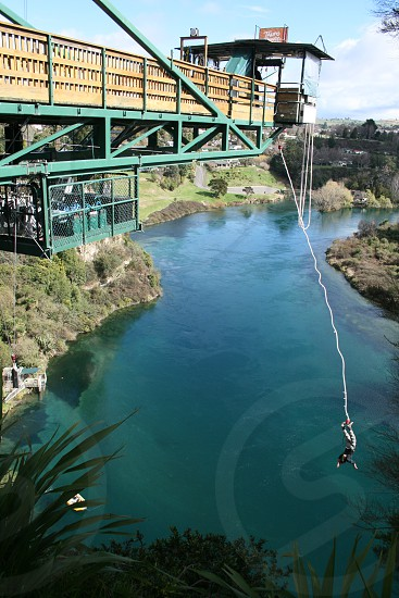 My other half Bungy Jumping across the Waikato River in Taupo NZ. photo