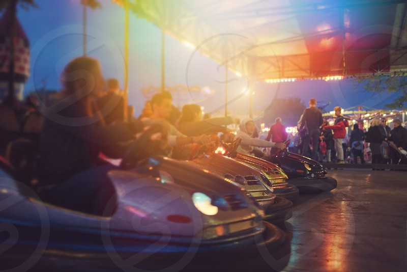 Bumper Cars Ready to Start at Town Fair photo
