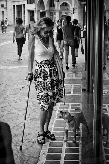 woman in plunging neck dress holding walking cane and leash of her puppy in grayscale photo