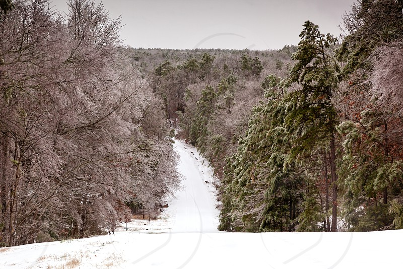 Ice covered country road in the Ozark Mountains during a dangerous ice storm photo