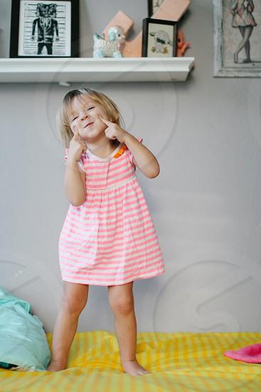little girls short sleeve pink striped dress photo
