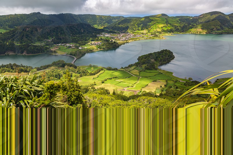 Sete Cidades. Blue and green lake in the volcano craters of the island of Sao Miguel part of the Azores. photo