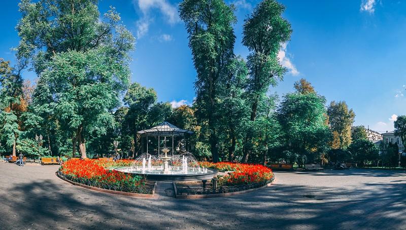 ODESSA UKRAINE - 09.25.2018. Panoramic view of the Odessa City garden Ukraine in a sunny summer morning photo