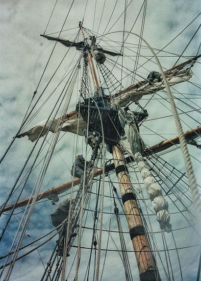 Looking up mast into rigging of an old sailing ship... photo