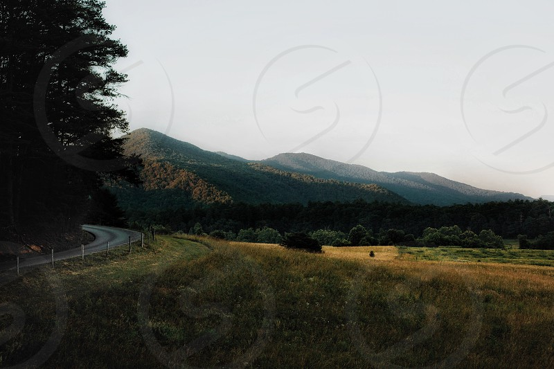 Road curve mountains sunset national park smoky mountains cades cove photo