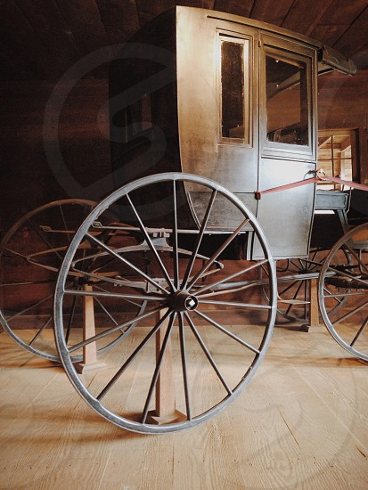 Rustic horse carriage. Vehicle if the past. Portrait   photo