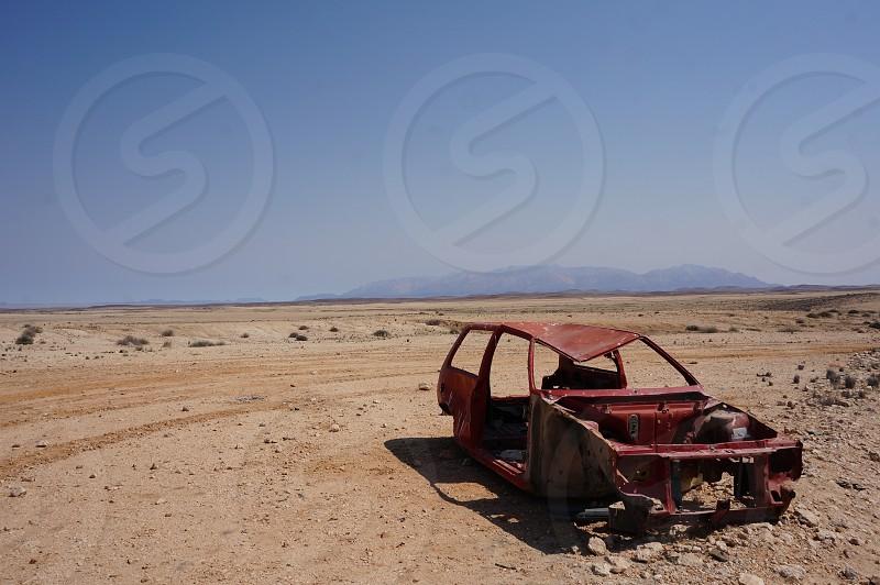 Abandoned car in Namibia. photo