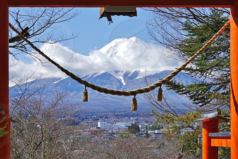 The snow-capped Mount Fuji volcano in Japan photo