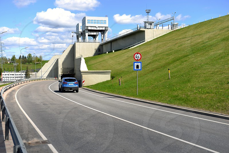 Road and tunnel under hydroelectric power station in Aizkraukle Latvia - image photo