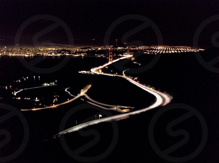 cars at the road at night photo