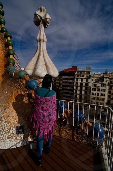 women's fuchsia crochet fringe wrap photo