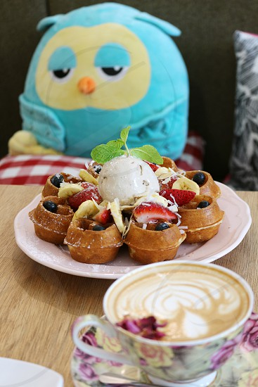 ice cream waffle for snack photo