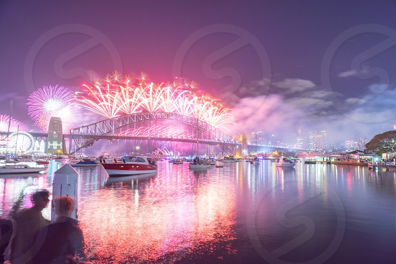New year eve fireworks show at Sydney Harbor Bridge photo