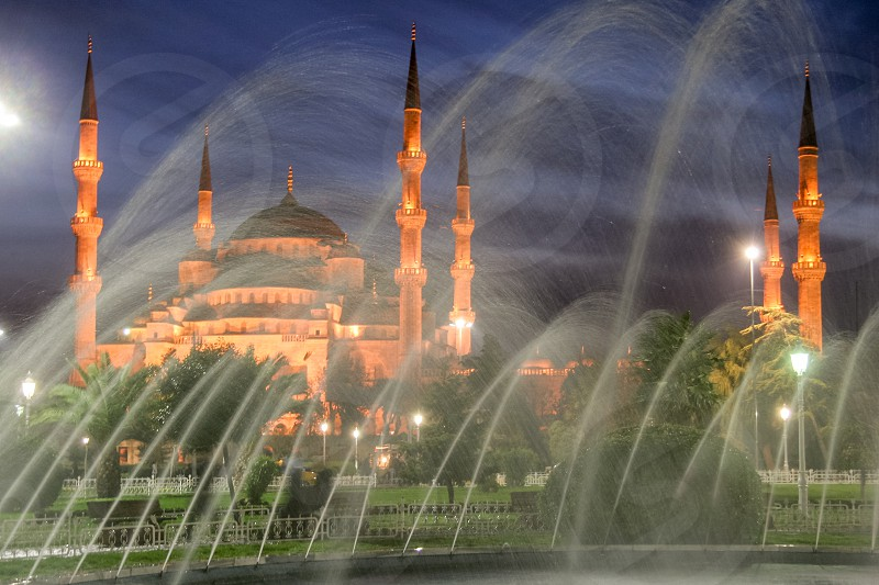 Here is a view of the The Sultan Ahmed Mosque also known as the Blue Mosque. It's one of major tourist attraction when you visit Istanbul in Turkey. photo