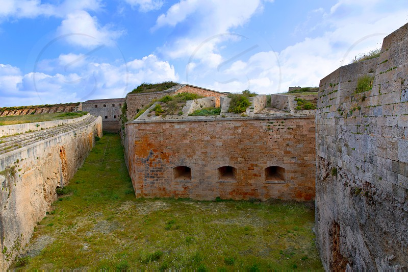 Menorca La Mola Castle fortress wall in Mahon at Balearic islands photo