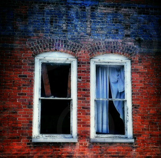 Always By Your Side - rustic red blue windows wall window abandoned urban urbex decay street photography photo
