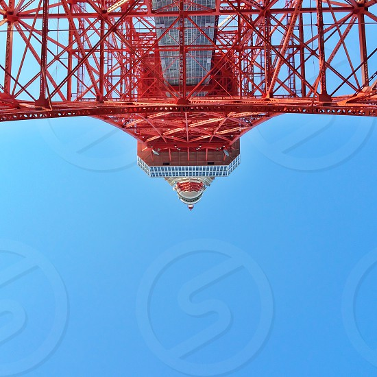 lower angle view of red tower photo