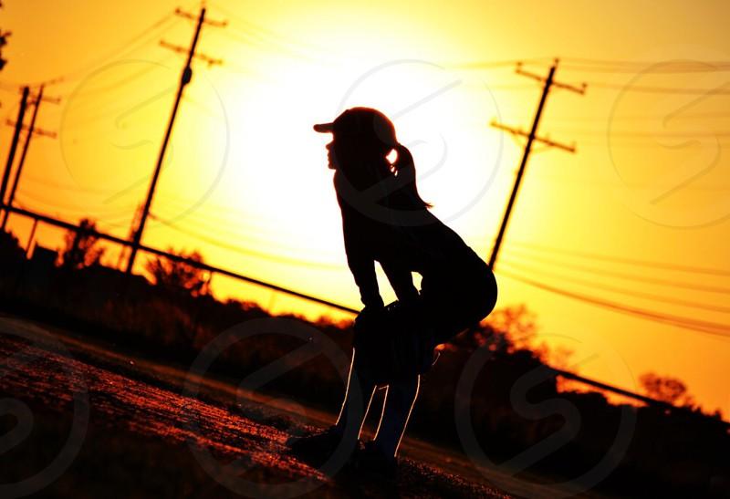 Summer sunset sport sports softball outfield outfielder photo
