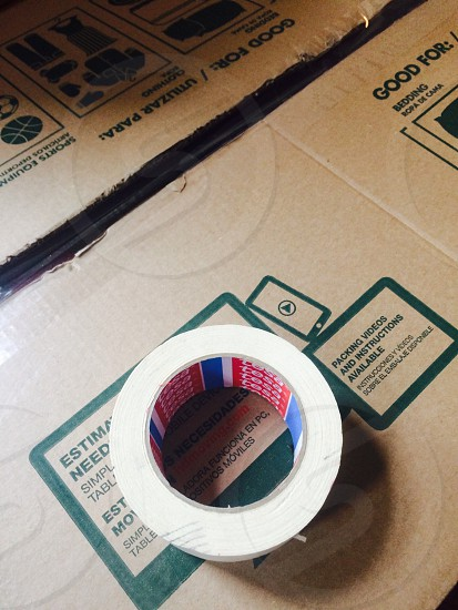 Packing Tape & Cardboard Moving Box photo