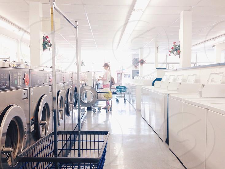gray front load washing machine photo