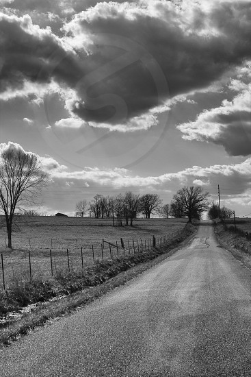landscape black and white country road photo