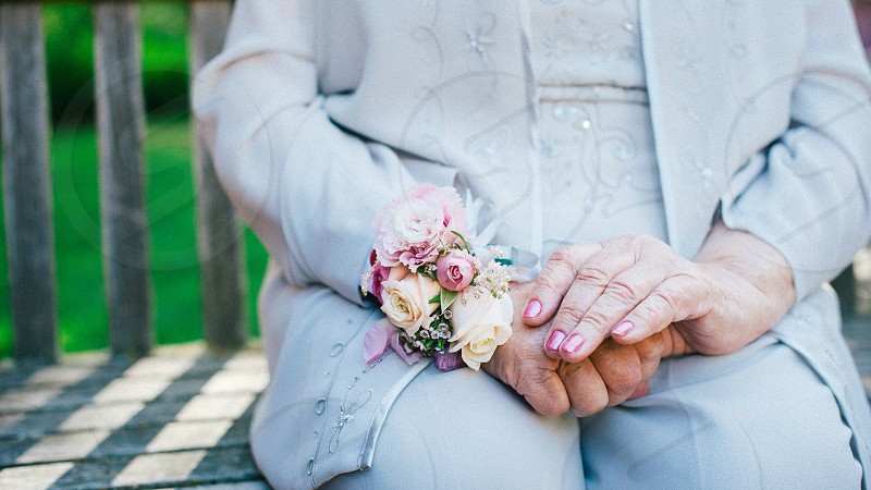 woman holding flowers photo