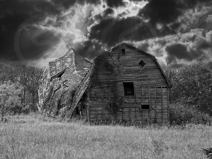 architecture barn birds hill black and white building Canada cloud darkness environment farm building grass house landscape Manitoba monochrome monochrome photography old outdoor outdoors roof ruins rural rural area scenery scenic sky structure summer travel tree trees wood photo