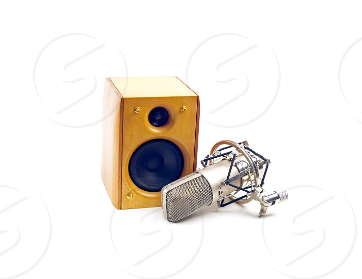 speaker and microphone on white background photo