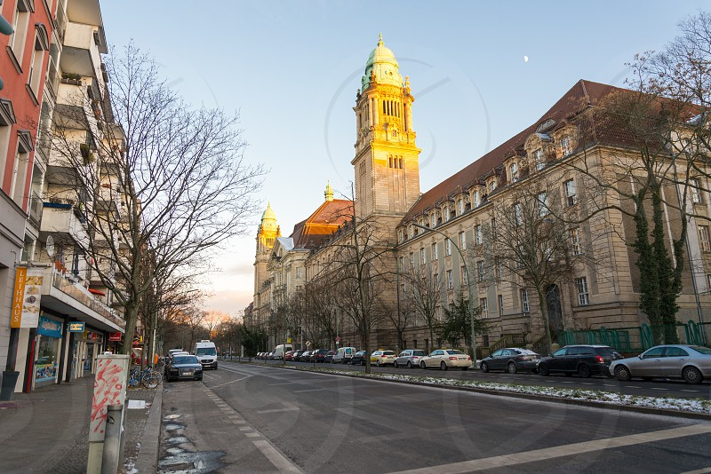 """Exterior facade of Prewar building name""""  Amtsgericht Tiergarten"""" inside Moabit neighborhood in Berlin Germany photo"""
