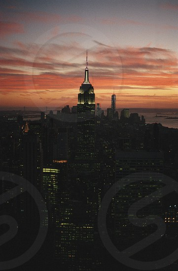 New York city cityscape landscape Big Apple travel sunset tower night evening USA America photo