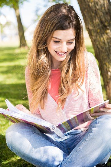 girl student school academic books studying photo
