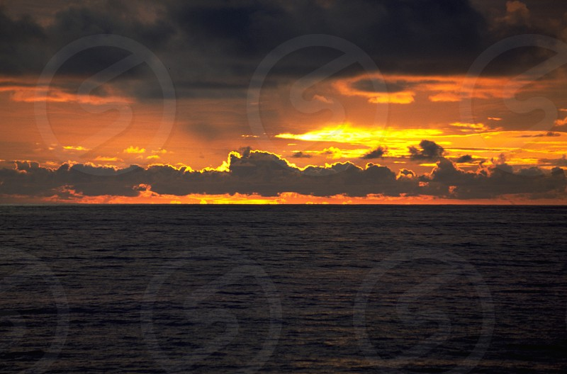 Sunset Ocean Hawaii USA photo