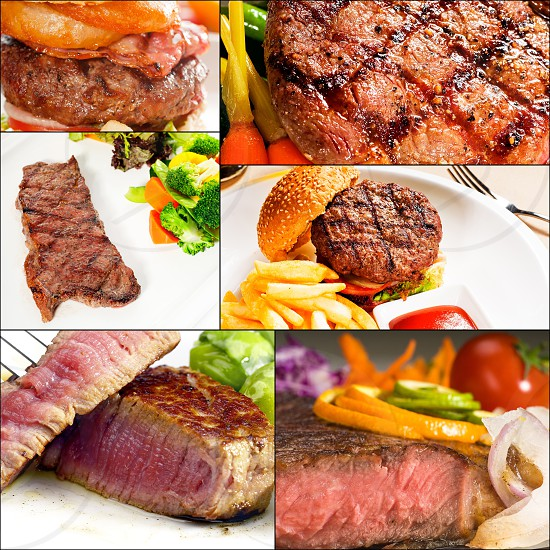 beef dishes collage composition nested on square frame photo