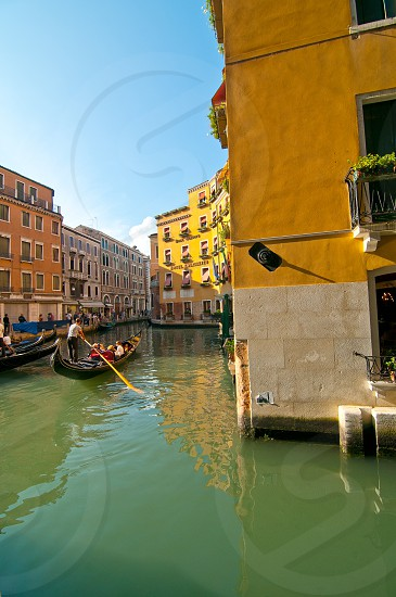 Venice Italy gondolas on canal pittoresque view photo