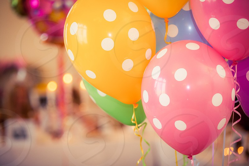 balloons polka dot pink yellow white blue green pastel party ribbons photo