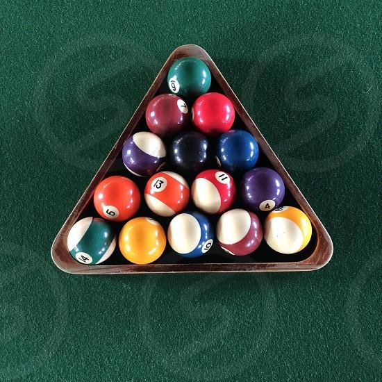 Minimalist triangle billiard pool ball play color  photo