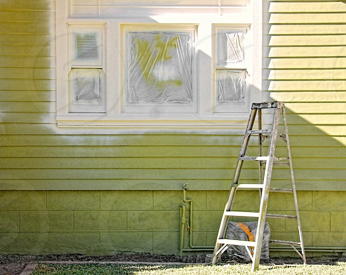 A small ladder is near the side of a house with a freshly painted window frame photo