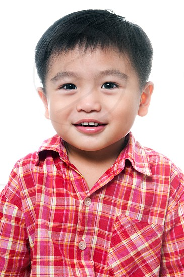 young east asian boy portrait upper half studio white background isolated cutout happy smiling children cute adorablekid childhood cheerful smile one person people 4 years old child elementary schoolboy preschooler photo