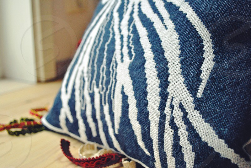 blue and white pillow photo