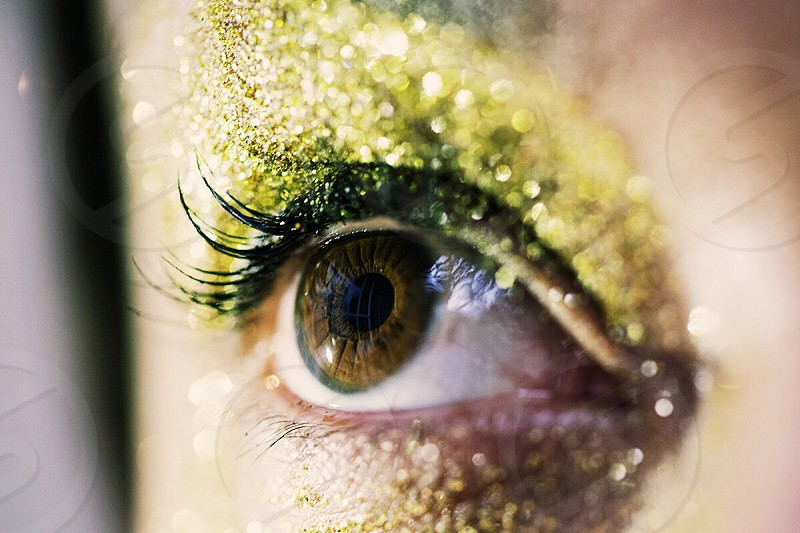 Eye glitter light gold see iris vision sight look bright lashes eye lashes  photo
