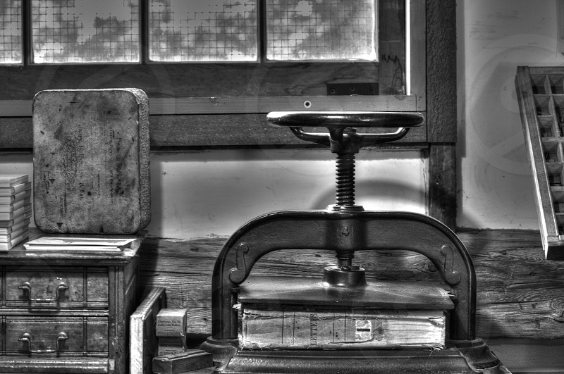 Old Antiques in a Printers shop. photo