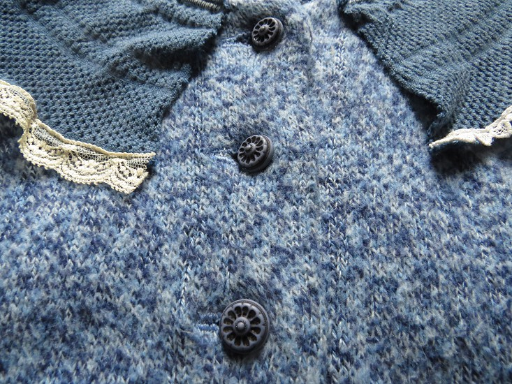 Handmade up-cycled blue sweater. photo