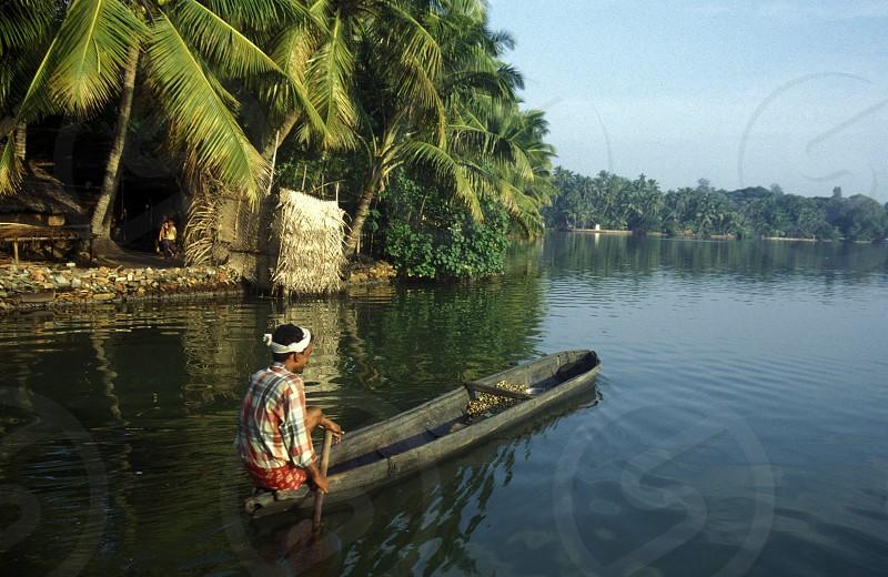 The Backwater rivers near the city ofi Kochi in the province Kerala in India. photo