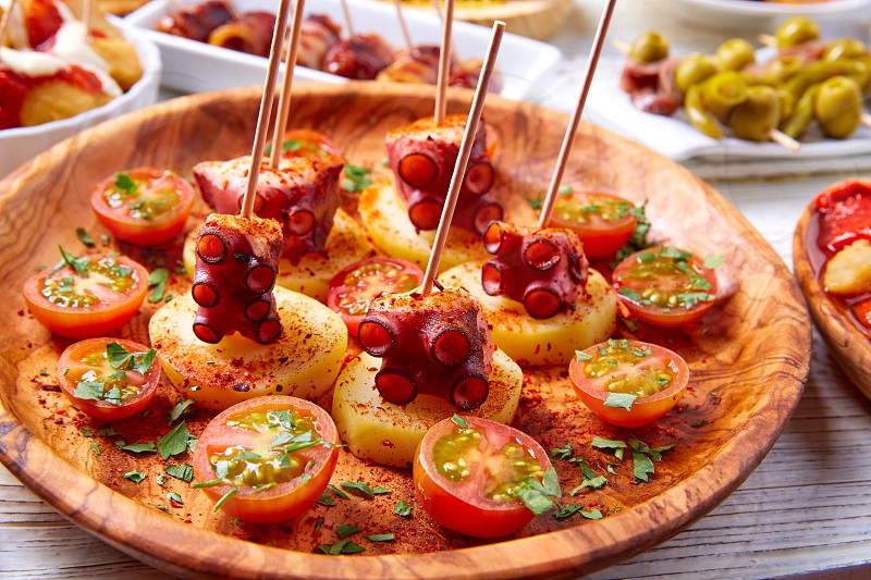 Galician Octopus a la Gallega tapas pinchos recipe from Spain with potatoes photo