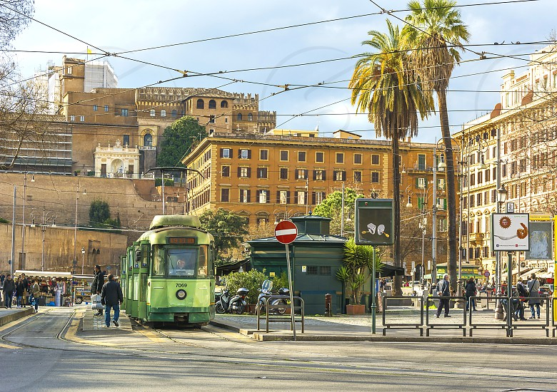 tram ready to move in Piazza del Risorgimento Rome. This square is dedicated to the heroes of the italian Risorgimento  photo
