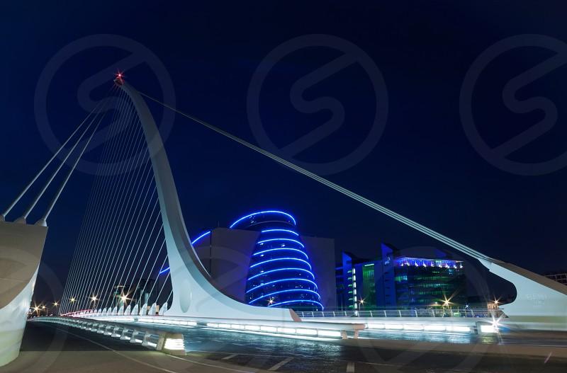 Bridge river night dublin city urbanliffey photo