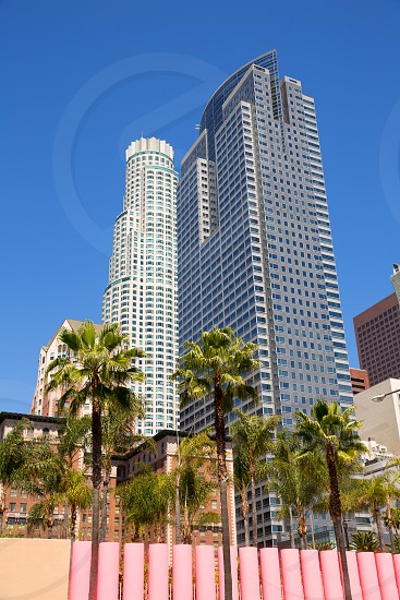 LA Downtown Los Angeles Pershing Square palm tress and skyscrapers photo