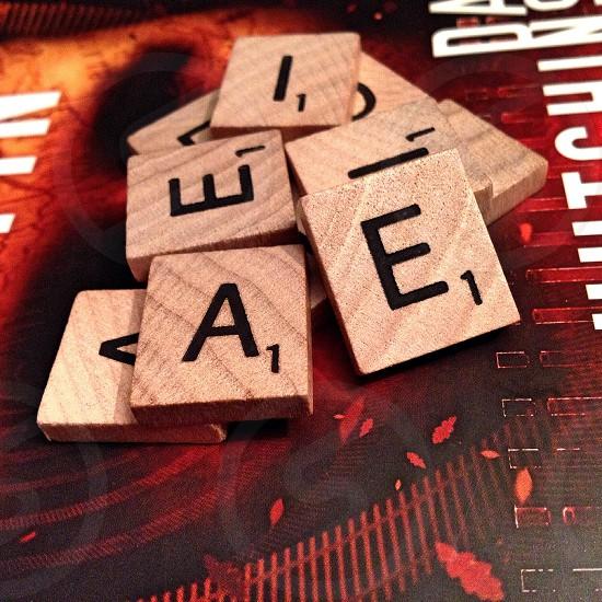 Scrabble letters pile photo